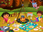 Dora's Forest Camp Cleaning Game