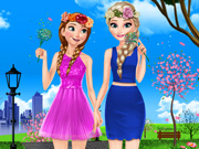 Elsa And Anna Spring Dress Up Game