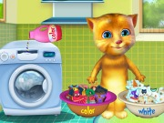 Talking Ginger Washing Clothes Game