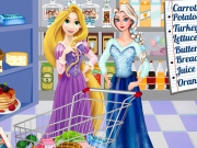 Elsa And Rapunzel Shopping Game