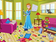 Princess Elsa Kitty Room Cleaning Game