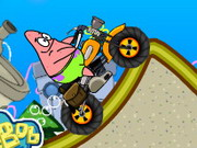 racing, boy , cartoon , driving , girl , kid , motorcycle , patrick , star , climb , over , mountain